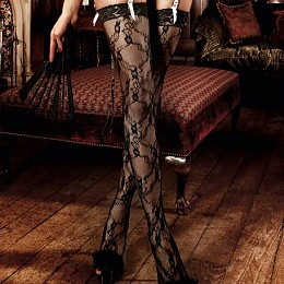 Чулки BACI Black Stockings With Flower & Lace Cuffs